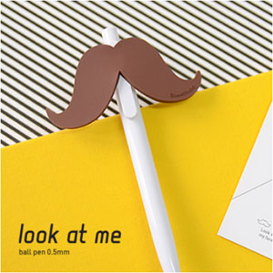 Look at me ball pen-brown mustache